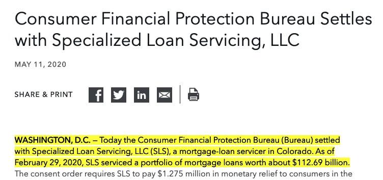 SLS Loan servicing settlement